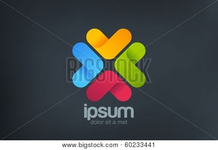 Social clever flower concept vector logo design template. Team sign. Teamwork icon. Social Network