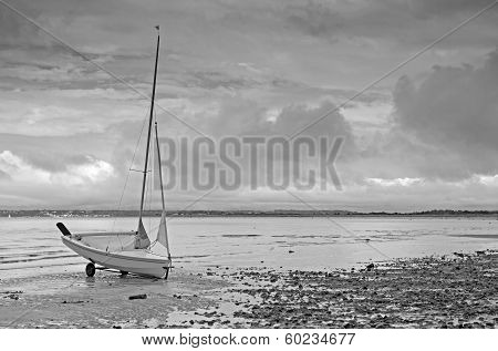 Black and white image of dinghy
