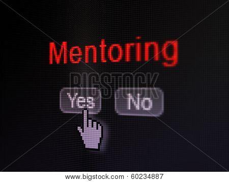 Education concept: Mentoring on digital computer screen