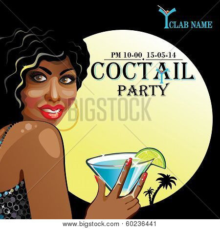Smiling Mulatto With Coctail.coctail Party.design Template