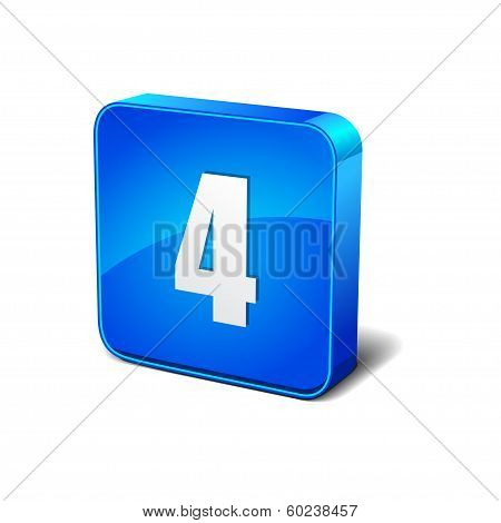 4 Number 3d Rounded Corner Blue Vector Icon Button