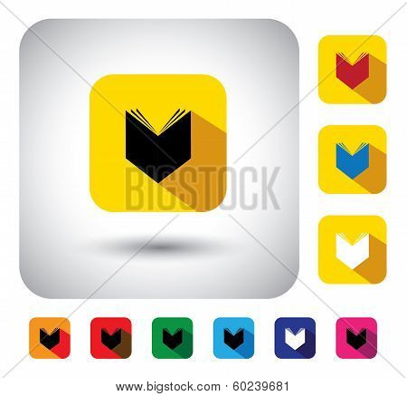 Open Book Sign On Button - Flat Design Vector Icon