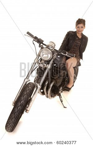 Woman Leopard Dress Motorcycle Sit Smile