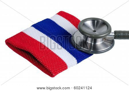 Medical Stethoscope And Thailand Flag Symbol.