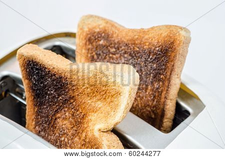 Close up of Toast in a toaster : Clipping path included