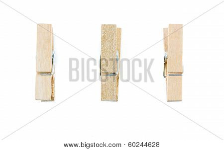 Wooden Clothespin Isolate