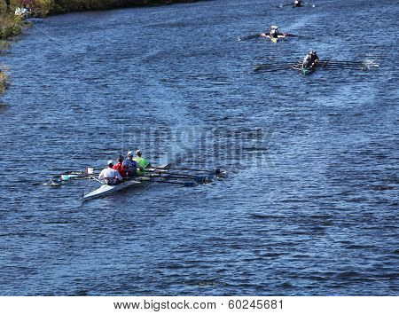 Many Boats make their way to the starting line in the Head of the Charles Regatta on October 20 2013