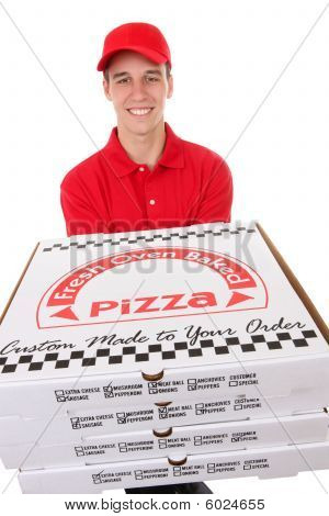 Man Delivering Pizzas
