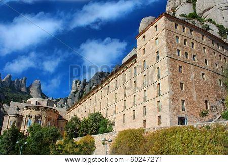 Santa Maria De Montserrat Abbey In Monistrol De Montserrat, Catalonia, Spain