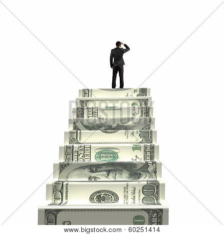 Gazing On Top Of Money Stairs
