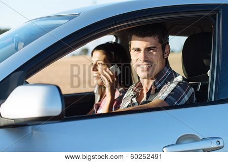 Couple In Car Traveling