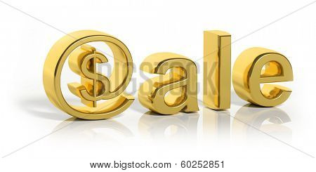 3D gold sale text with web money symbol isolated