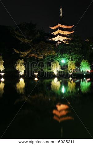 Night View Of Majestic Pagoda With Lake