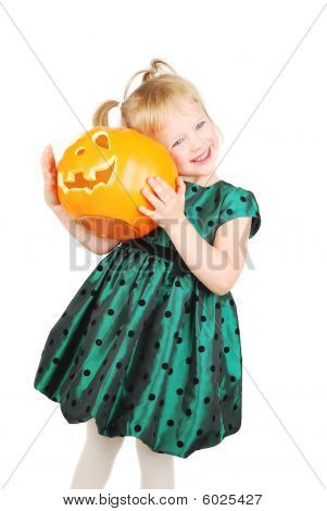Little Girl And Pumpkin