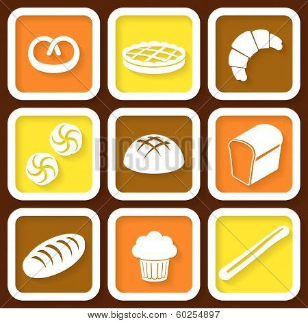 Set Of 9 Retro Icons Of Fresh Bread And Pastry. Eps10