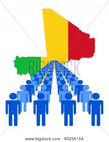 Lines of people with Mali map flag vector illustration