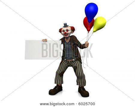 Smiling Clown With Balloons Holding Blank Sign.