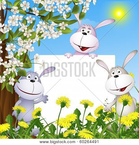 abstract background with cheerful hares and the poster