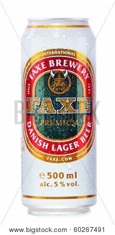 Can Of Faxe Beer Isolated On White