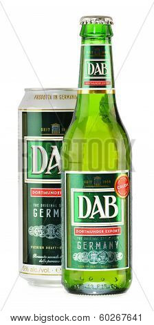 Bottle And Can Of DAB Beer Isolated On White