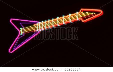 3D Rendered Modern Guitar As Neon Lamp