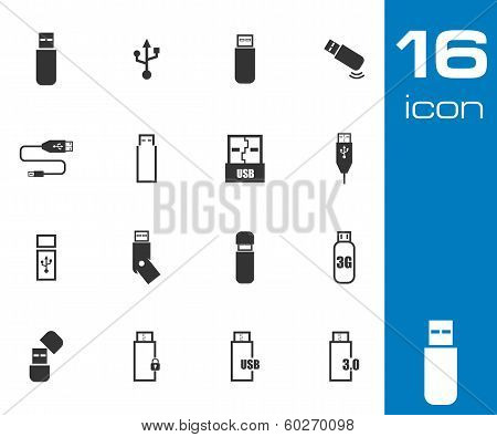 Vector black  usb  icons set