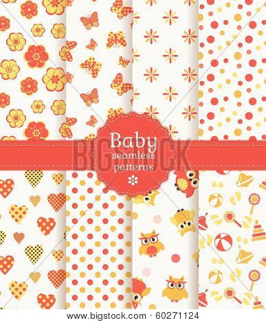 Baby Seamless Patterns In Pastel Colors. Vector Set.