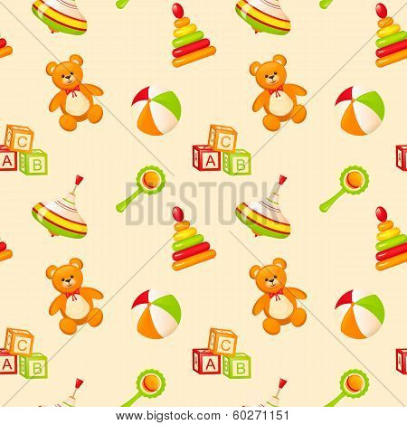 Seamless Pattern With Children's Toys.