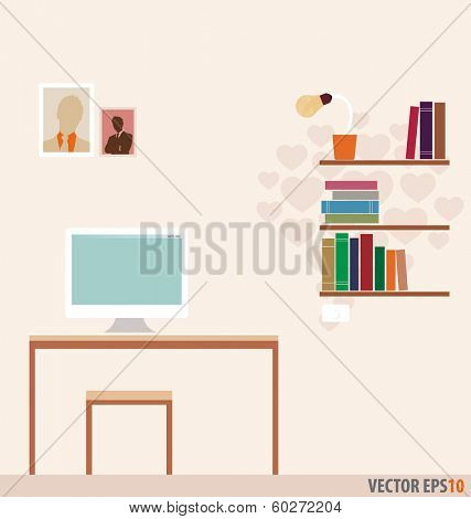 Workstation and bookshelf with heart wallpaper. Vector Illustration.