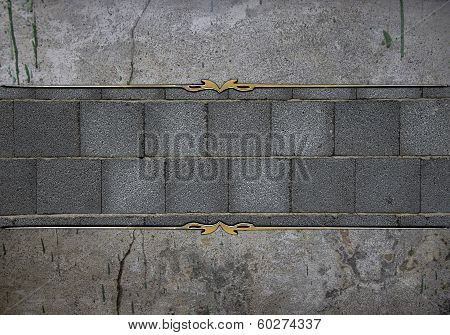 Stone Wall Texture, With Brick Nameplate With Gold Ornate Edges