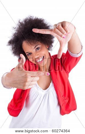 Young African American  Photographer Making Frame Gesture With The Hands
