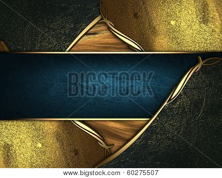 Gold Texture With Golden And Black Edges Gold Trim And Blue Name Plate