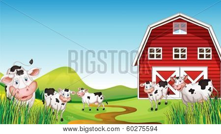 Illustration of a dairy farm
