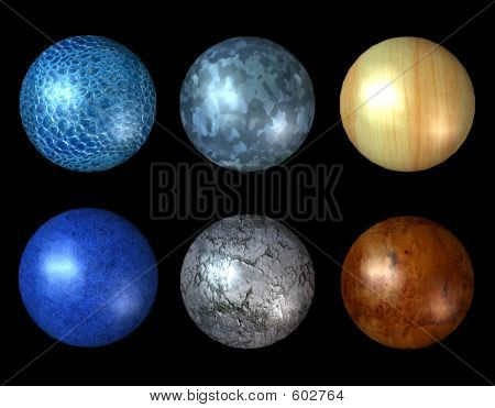 Six Textural 3D Spheres