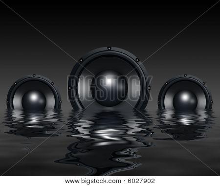 Speakers in water