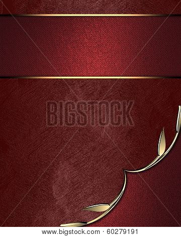 Red Background With Red Angle And Gold Trim. Red Nameplate