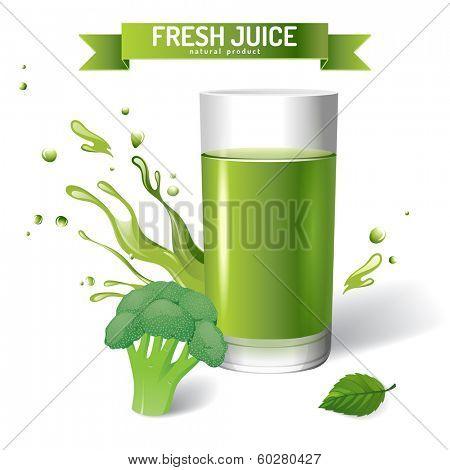 Fresh juice background with broccoli