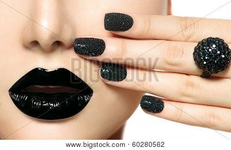 Beauty Black Caviar Manicure And Black Lips Fashion Makeup And