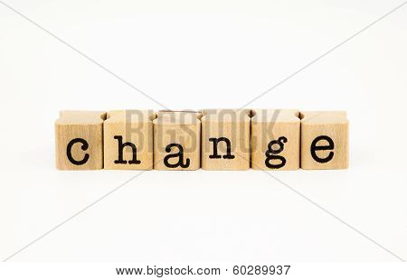 Change Wording Isolate On White Background