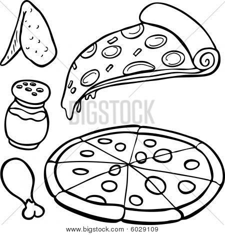 Pizza Food Items Line Art
