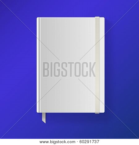 Copybook with elastic band and bookmark.