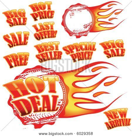 Flaming Sale Stickers And Rubber Stamp