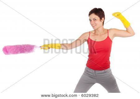 Woman Holding Feather Cleaner