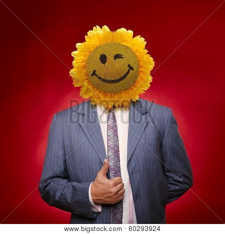 Smiling Sunflower Head Man In Suit Coat With Present Thumbs Up Over Red