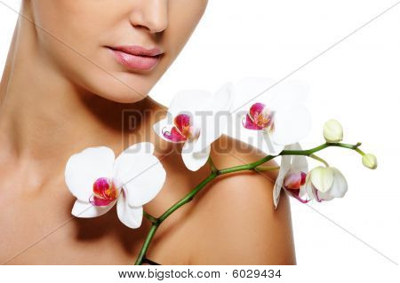 Beauty Flower Lying On Nude  Female Shoulder