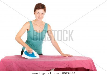 Woman Ironing Isolated