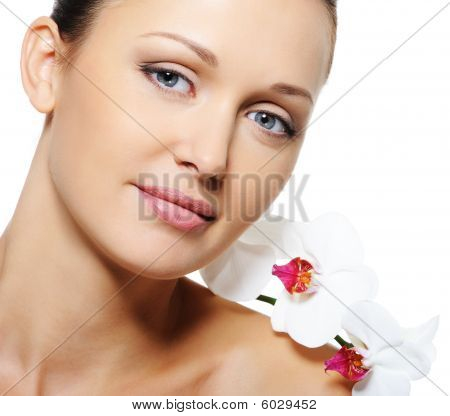 Beauty Adult Female Face With Flowers