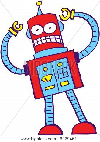 Cray red robot in a very angry mood