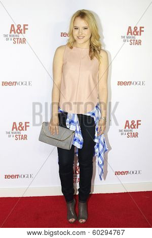 LOS ANGELES - FEB 22: Taylor Spreitler at the Abercrombie & Fitch 'The Making of a Star' Spring Campaign Party on February 22, 2014 in Los Angeles, CA