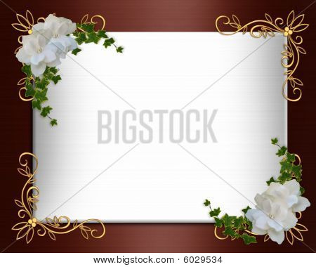 Invitation border elegant  Burgundy Satin white gardenias